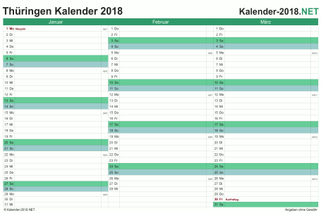 Thüringen Quartalskalender 2018 Vorschau