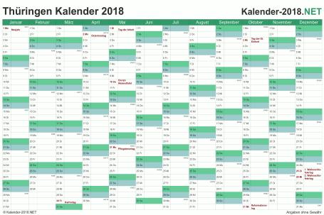 Vorschau Kalender 2018 für EXCEL mit Feiertagen Thüringen